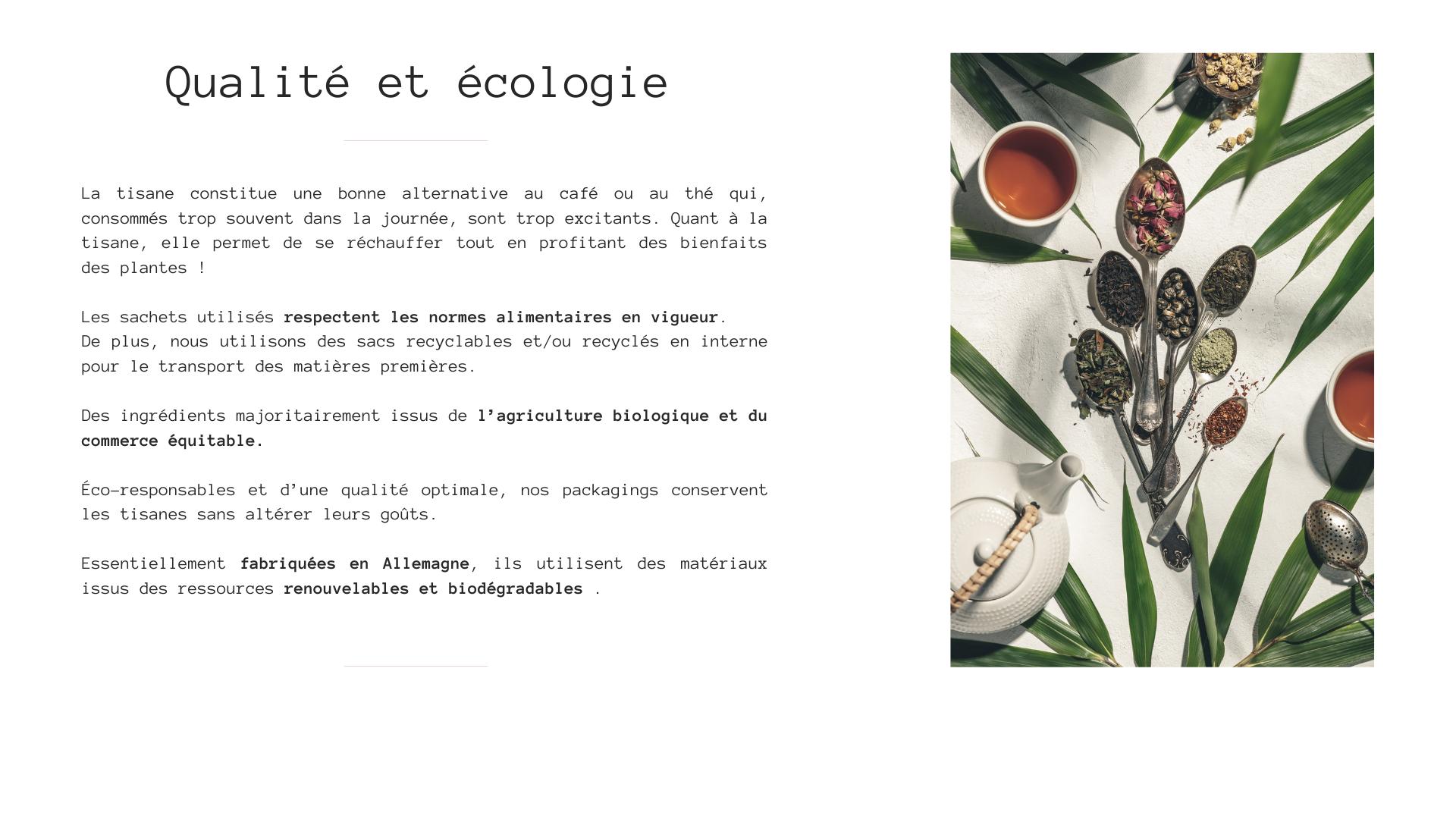 infusions tisanes marque eight powers -illustration produits naturels et biologiques - qualite et ecologie